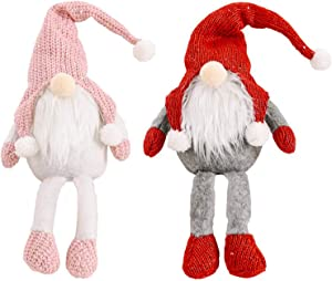 Jucoan 2 Pack Christmas Gnome Plush Doll, Tabletop Santa Figurines 21 Inches, Handmade Swedish Tomate Scandinavian Dwarf Ornament for Xmas Tree Table Home Decor Gifts (Pink, Red)