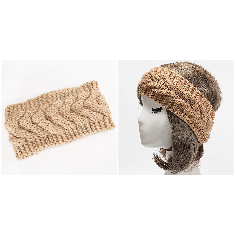 WinCret Stirnband Damen M/ädchen Winter H/äkeln Stirnb/änder Gestrickt Stirnband Fr/ühling Kopfband Haarband Elastische Blume Gedruckt Stirnb/änder