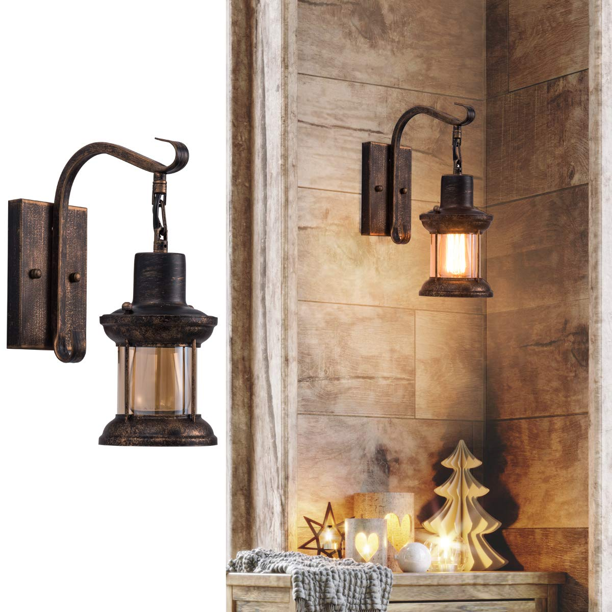 Rustic Indoor Light, Oil Rubbed Bronze Finish Vintage Wall Sconce Fixture Industrial Lamp Glass Shade Decor Lantern Lighting Farmhouse Sconces Metal Lights for House Bedroom Living Room Cafe(1 Pack)