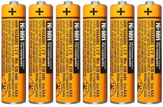 6 Pilas Recargables AAA NI-MH para Panasonic HHR-65AAABU 1,2 V: Amazon.es: Electrónica