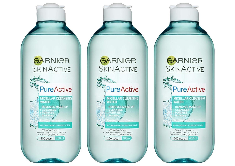 SkinActive Face Garnier Pure Active Micellar Oily Skin Cleansing Water, 400 ml, paquete de 3: Amazon.es: Belleza