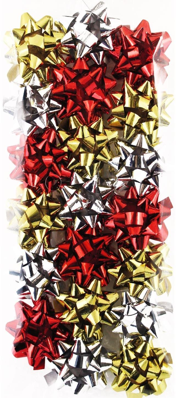 20 Mini Red Gold Silver Holographic Ribbon Gift Small Bows Present Decoration Celebration Christmas Tree Festive Birthday Wedding Wrap Concept4u