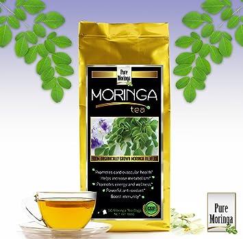 Moringa Tea - Pure Moringa Oleifera, 50 Tea Bags, Enjoy Benefits of Organic  Moringa Powder in a Tea