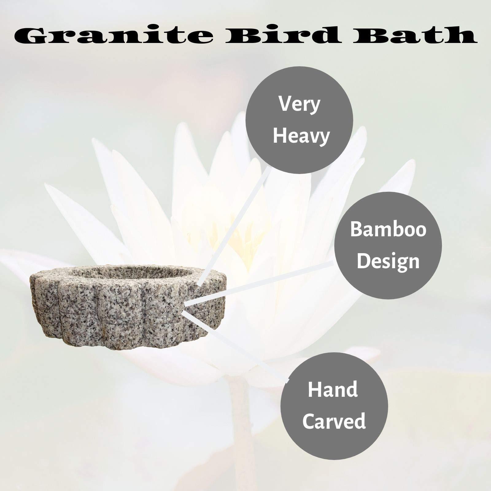 The Crabby Nook Granite Bird Bath Garden Outdoor Decor Hand Carved Stone Statuary Birdbath (White Gray) by The Crabby Nook (Image #3)