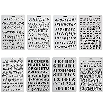 CCMART Plastic Bullet Journal Stencil Template Set of 8 with Letters Number  Alphabet Symbol Pecfect for