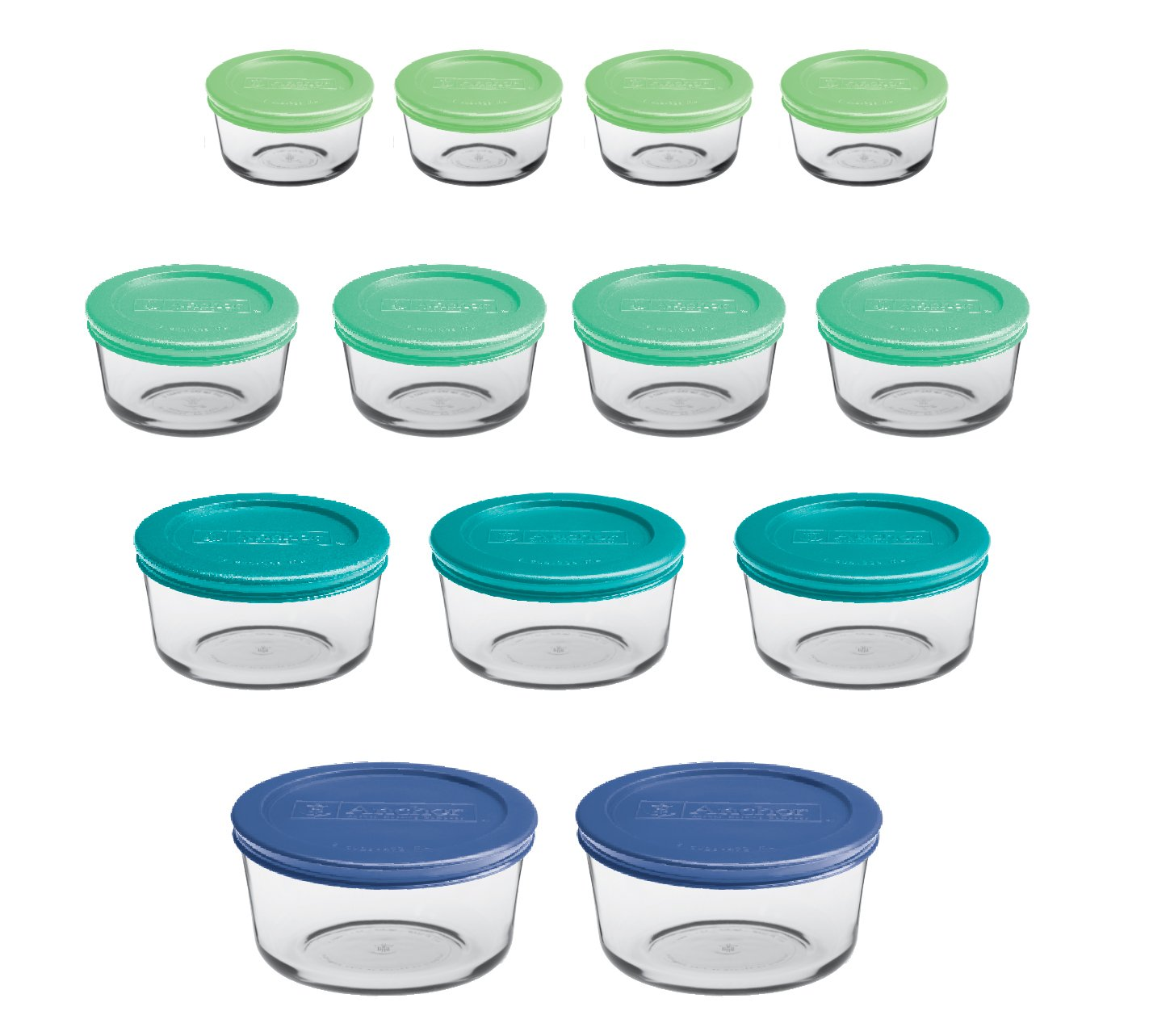 Anchor Hocking 12895ECOM Classic Glass Food Storage Containers with Lids, Mixed Blue, 26-Piece Set