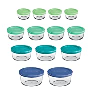Anchor Hocking 12895ECOM, Mixed Blue, Classic Glass Food Storage Containers with Lids, 26-Piece Set