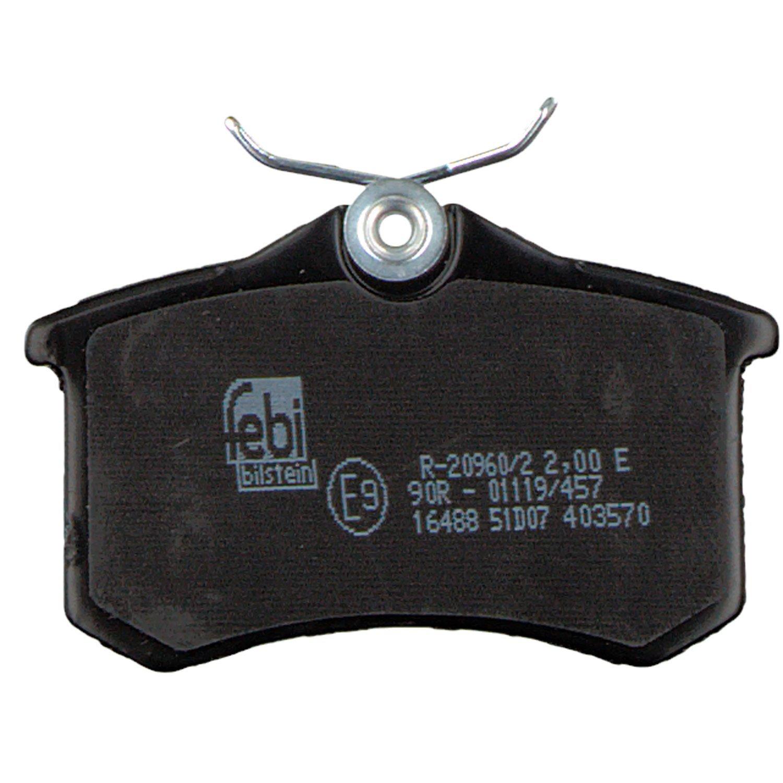 febi bilstein 16488 Bremsbelagsatz mit Schrauben ohne Verschlei/ßwarnkontakt hinten, 4 Bremsbel/äge