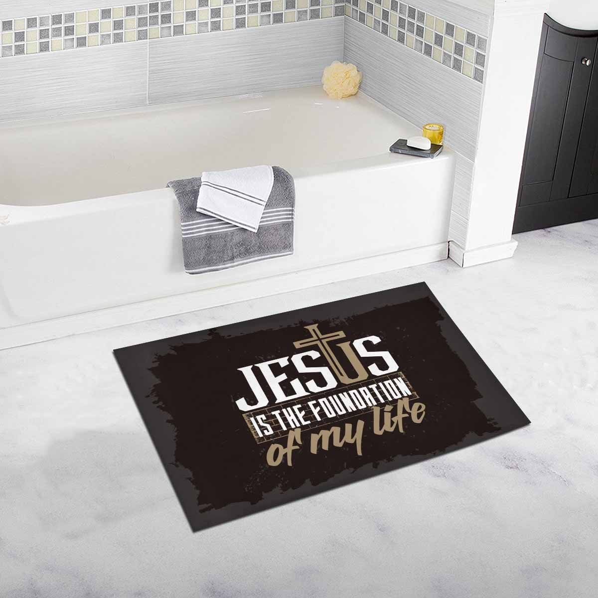 InterestPrint Bible Lettering Christian Jesus Is Foundation of My Life Home Decor Non Slip Bath Rug Set Absorbent Floor Mats for Bathroom Tub Bedroom Large Size 20 x 32 Inches by InterestPrint