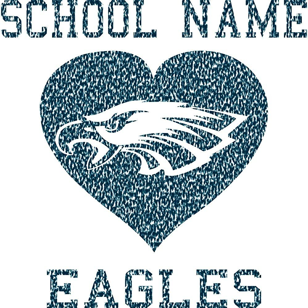 Custom Eagles Mascot in Heart Shape /& School//Organization Name or Plain on Mens Hooded Pullover Sweatshirt