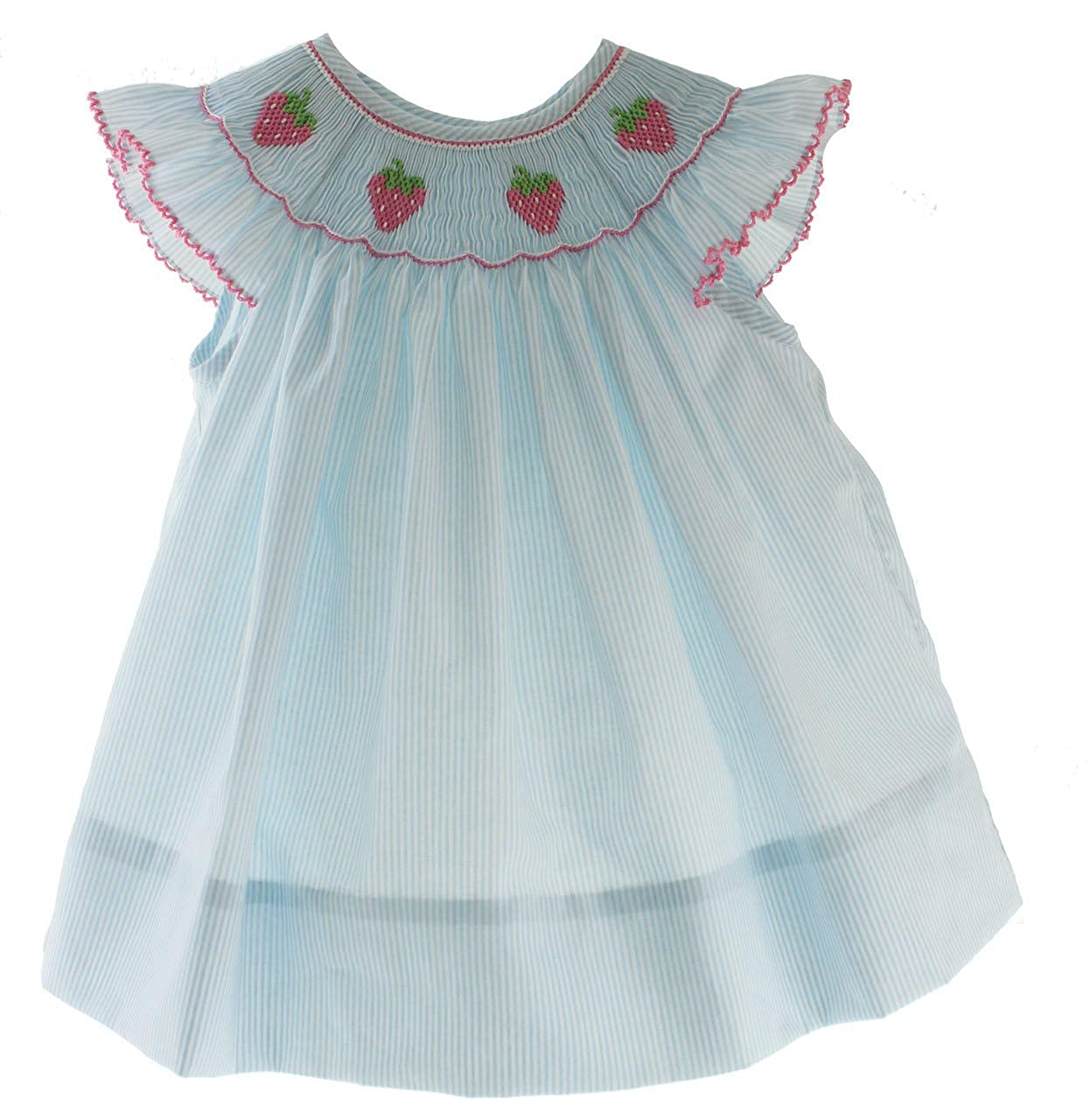 Petit Bebe Girls Smocked Dress Strawberry Smocking Blue Angel Bishop