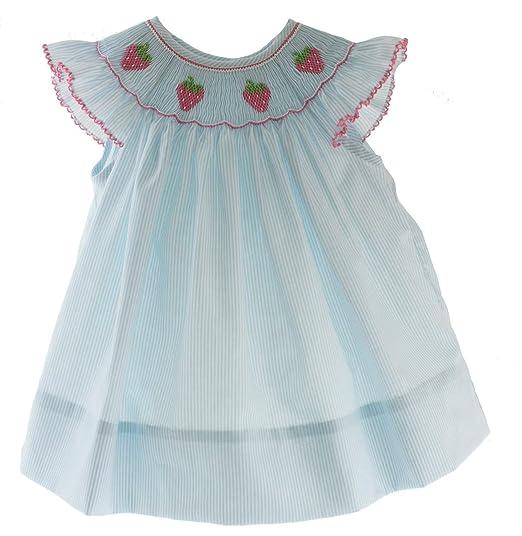 Amazon com: Petit Bebe Girls Smocked Dress Strawberry Smocking Blue