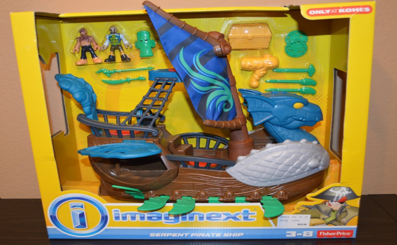 Fisher-Price Imaginext Serpent Pirate Ship Blue Fisher Price