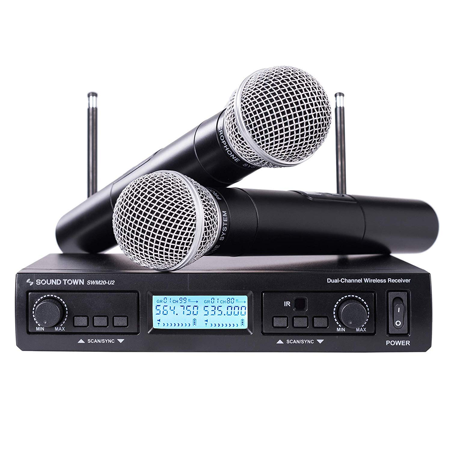 Sound Town 200-Channel Professional UHF Wireless Microphone System with 2 Handheld Microphones, for Church, Business Meeting, Outdoor Wedding and Karaoke by Sound Town