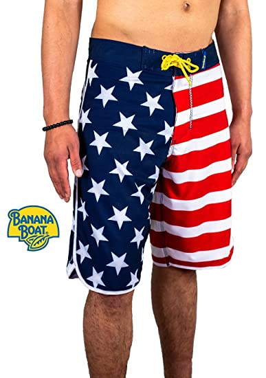 Calhoun Sportswear USA Logo American Flag Stars Stripes Men/'s Shorts Swim Trunks