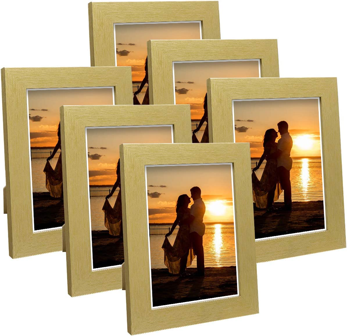 Q.Hou 5x7 Picture Frame Wood Pattern Gold Photo Frames Packs 4 with High Definition Glass for Tabletop or Wall Decor (QH-PF5X7-GD)