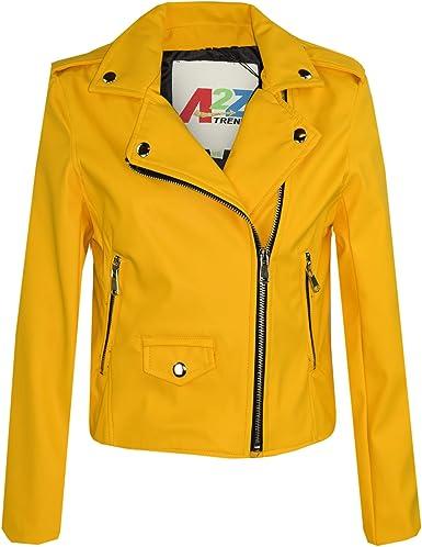 A2Z 4 Kids® Kinder Jacken Mädchen Designer PU Mustard Lederjacke Mode Reißverschluss Biker Mantel Mäntel Neu Alter 5 13 Jahre
