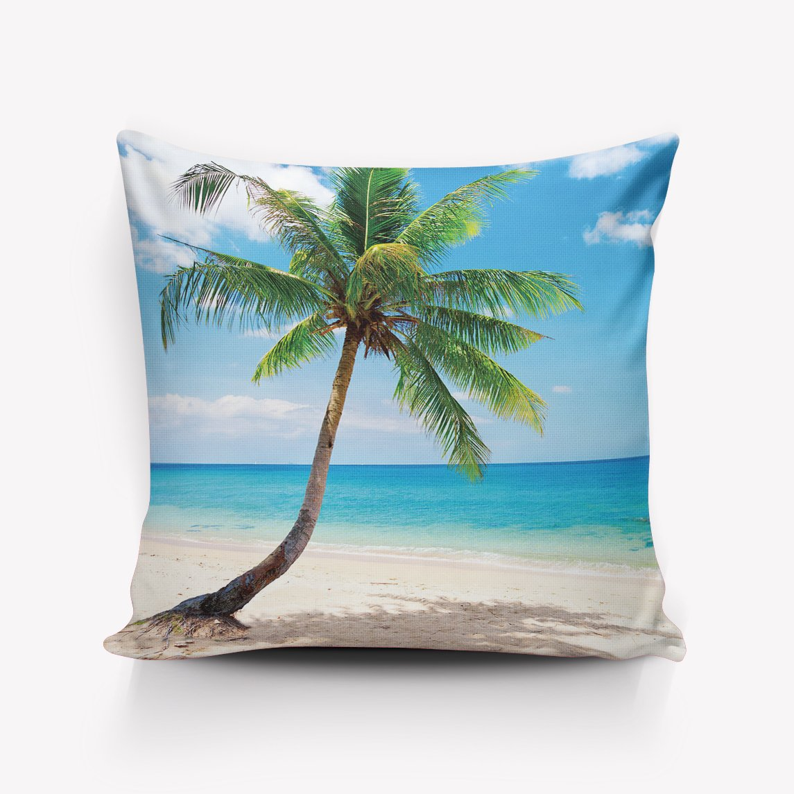 URDER Throw Pillowcase Covers/Euro Sham/Cushion Sham with Zipper, Luxury Linen Square Pillow Cases for Sofa/Bed/Chair Decor, Tropical Beach Coconut Tree - 18''x18'' by URDER