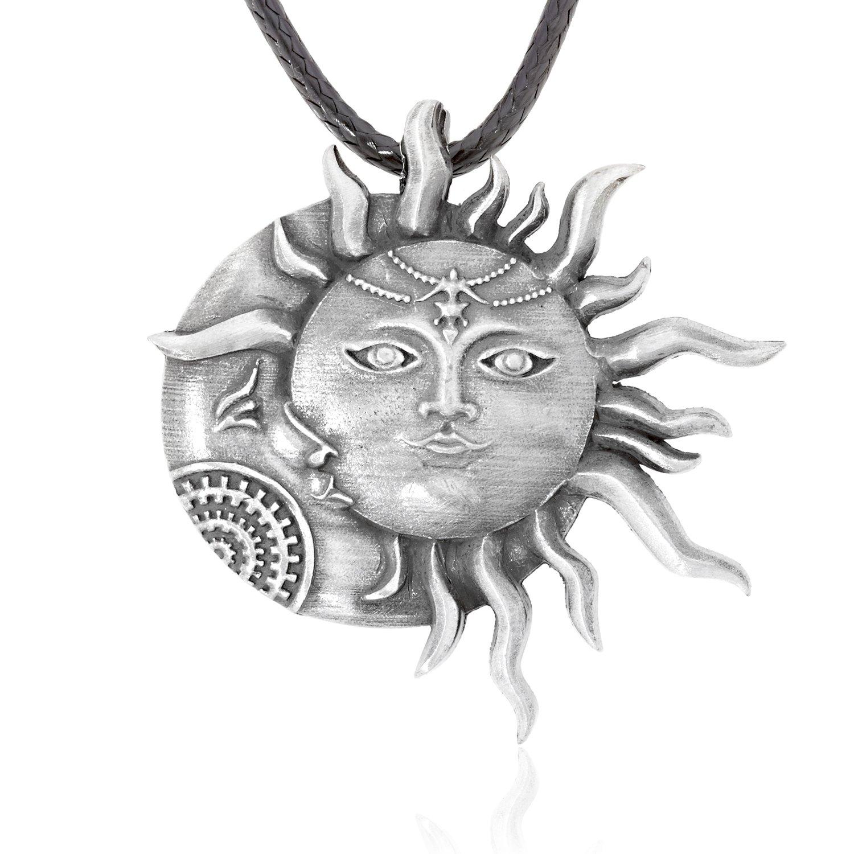 Dan's Jewelers Sun Moon Face Pendant Necklace, Fine Pewter Jewelry