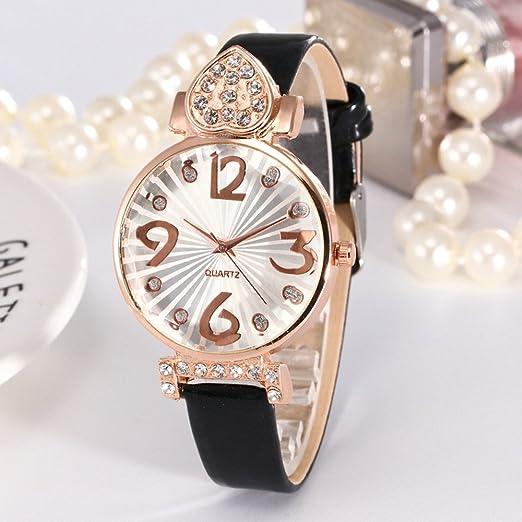 Kinlene baratos mujer relojes, casual de moda Reloj analógico de cuarzo analógico con correa de cuero de PU (Negro): Amazon.es: Relojes