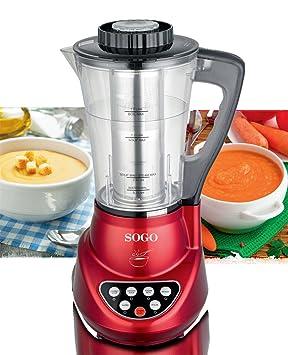 Sogo BAT-SS-14600 Robot de Cocina 2 en 1 con batidora y máquina para Hacer Sopa, 280 W, 1.7 litros, Plástico, Rojo: Amazon.es: Hogar