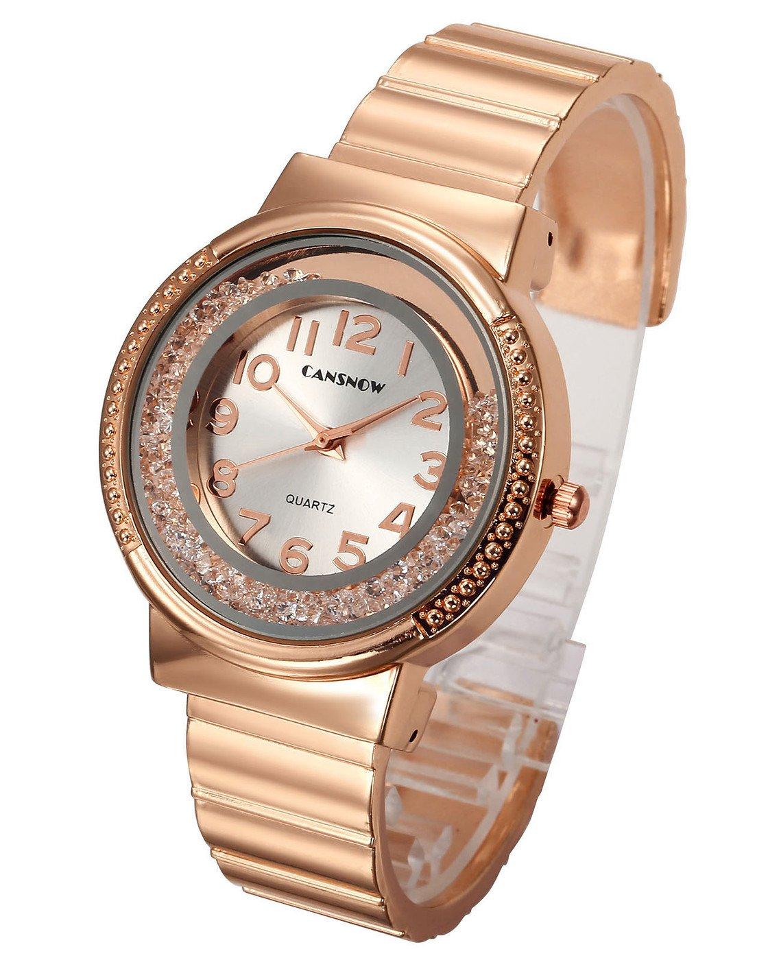 Top Plaza Women Ladies Casual Luxury Gold Silver Rose Gold Tone Alloy Analog Quartz Bracelet Watch Round Case Rhinestones Decorated Elegant Dress Bangle Cuff Wristwatch-Rose Gold #1
