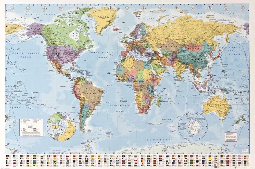 1art1 Mapas - Mapa del Mundo Político con Banderas Póster (91 x 61cm): Amazon.es: Juguetes y juegos