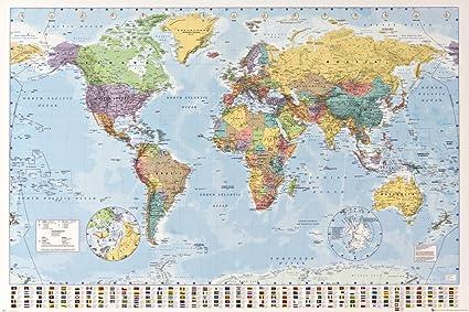 Cartina Geografica Mondo Poster.1art1 Carte Mappa Del Mondo Politico Con Bandiere Poster Stampa 91 X 61cm Amazon It Casa E Cucina