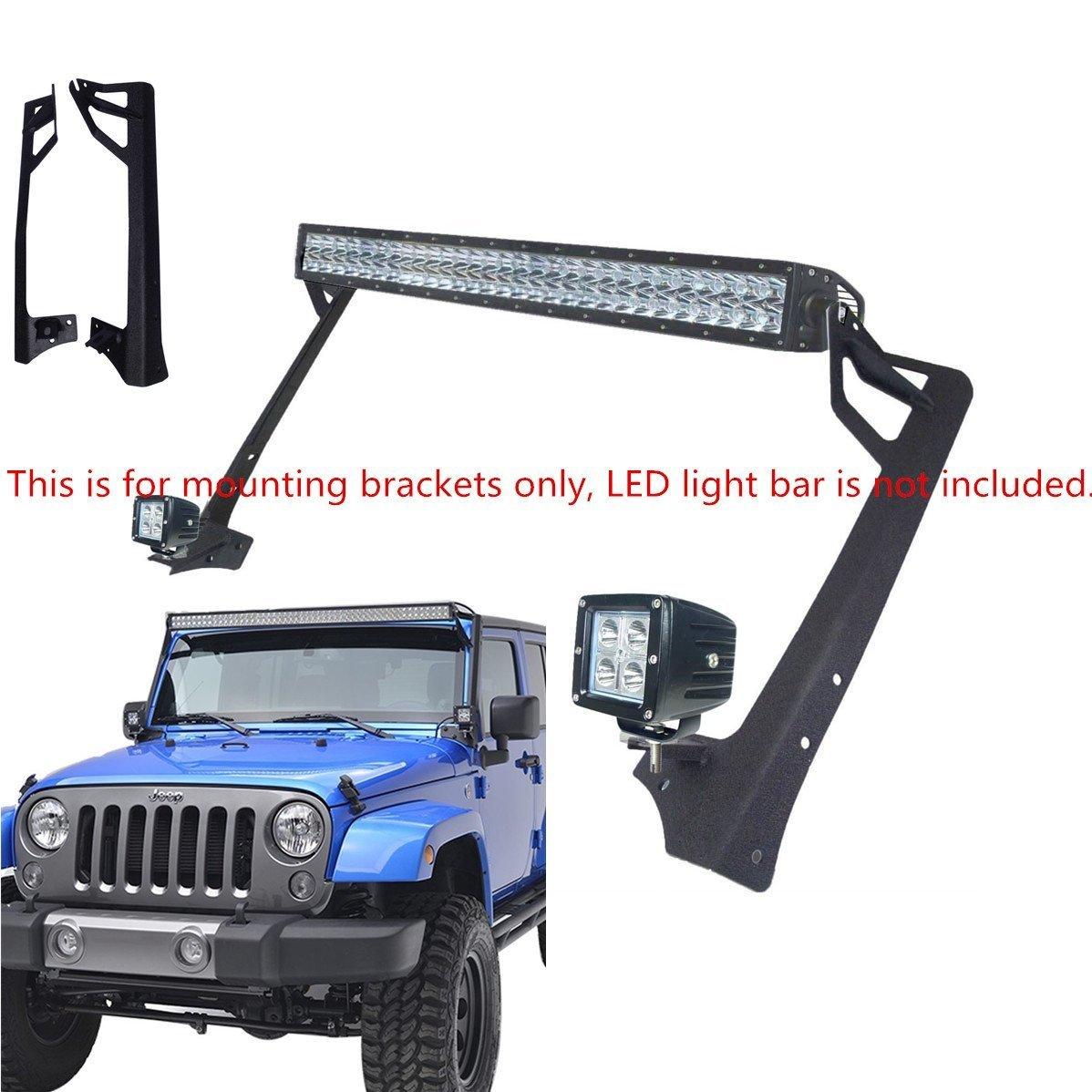 127/cm Barre lumineuse LED de travail Haut du pare-brise de montage Bracketswith spot support avec supports de pare-brise d/'angle Sxma pare-brise Supports de fixation