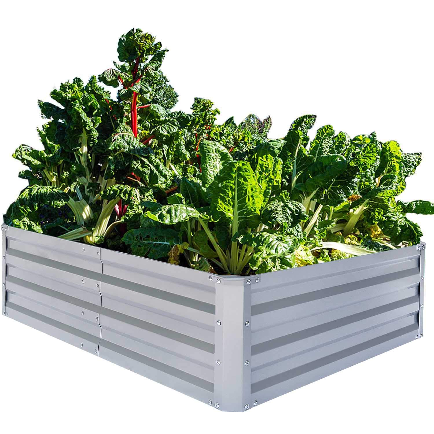 FOYUEE Galvanized Raised Garden Beds for Vegetables Metal Planter Boxes Outdoor Large Patio Bed Kit Planting Herb, 6x3x1ft