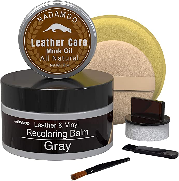 NADAMOO Gray Leather Recoloring Balm with Mink Oil Leather Conditioner, Leather Repair Kits for Couches, Restoration Cream Scratch Repair Leather Dye For Vinyl Furniture Car Seat, Sofa, Shoes