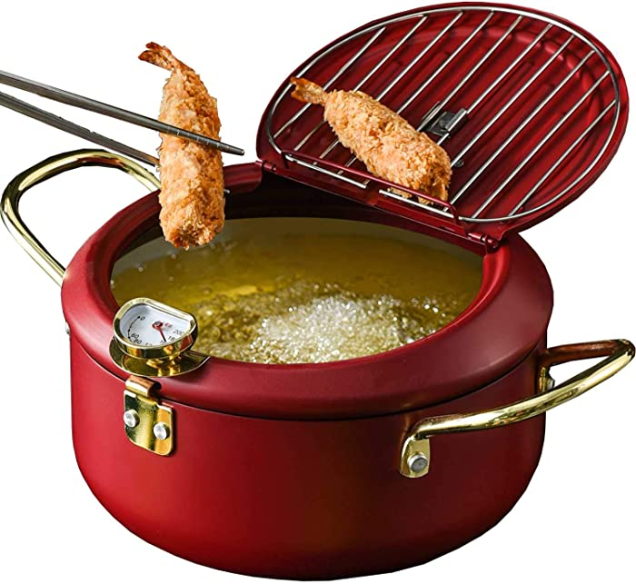 UNIKON Tempura Fry Pot Deep Fryer Frying Chicken Pot, Kitchen Deep Fryer Pan with Thermometer and Lid, 8""