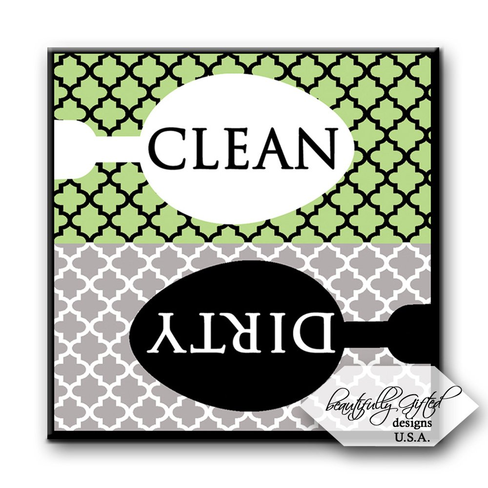 Dishwasher Magnet Clean Dirty Sign - Cute Quatrefoil Classy Moroccan Trellis Design - Home or Office Organization Tool - Green Black Grey - 2.5 x 2.5 - Gag Gift Idea or Christmas Stocking Stuffers