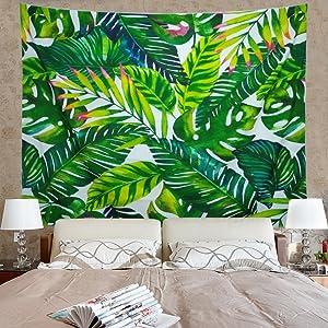 Amonercvita Leaf Tapestry Wall Hanging Palm Leaf Tapestry Banana Leaf Tapestry Wall Tapestry for Living Room Bedroom Dorm Decor
