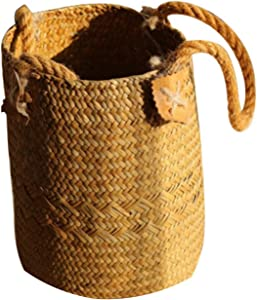 Home Garden Foldable Seagrass Laundry Basket Storage Baskets Hanging Baskets Flower Pots Rattan Planter Organizer,YB