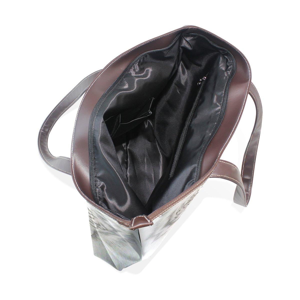 Ye Store White Tiger Lady PU Leather Handbag Tote Bag Shoulder Bag Shopping Bag