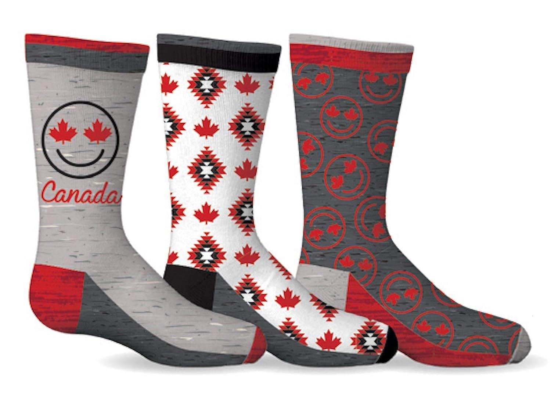 Canada Maple Leaf 3-Pack Kids Socks Size 5-7 Gertex