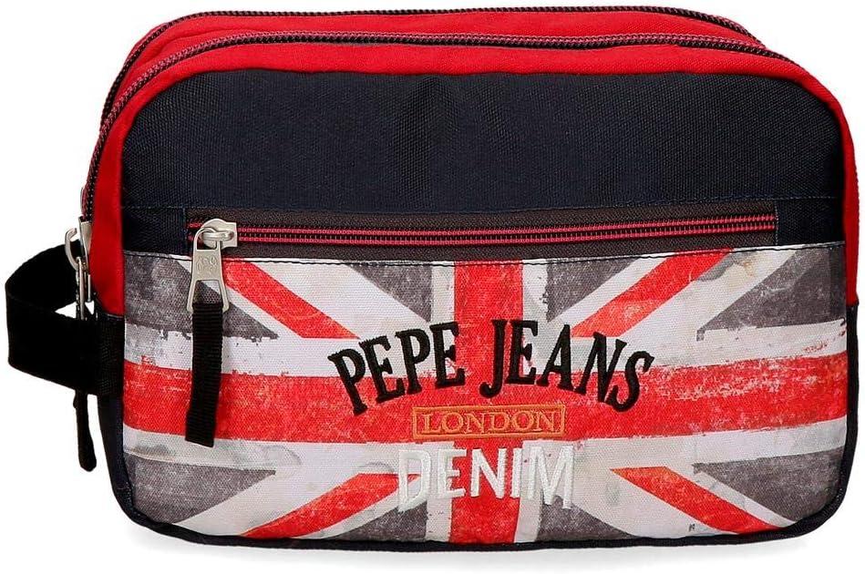 Pepe Jeans Calvin, Neceser Dos Compartimentos Adaptable, 26 cm, 4.99 liters, Multicolor