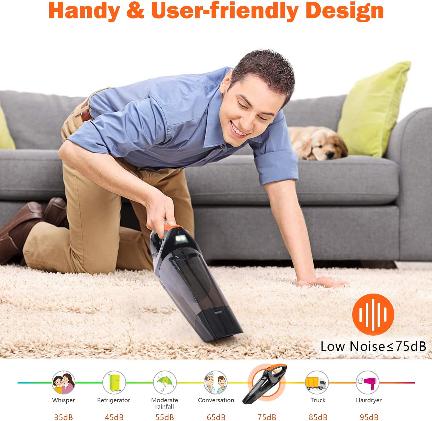 VACPOWER Handheld Vacuum Cleaner Cordless, Portable Hand Vacuum Powered by Li-ion Battery Rechargeable Quick Charge Tech, Mini Vacuum Cleaner with Strong Suction for Pet Hair, Home and Car Cleaning -