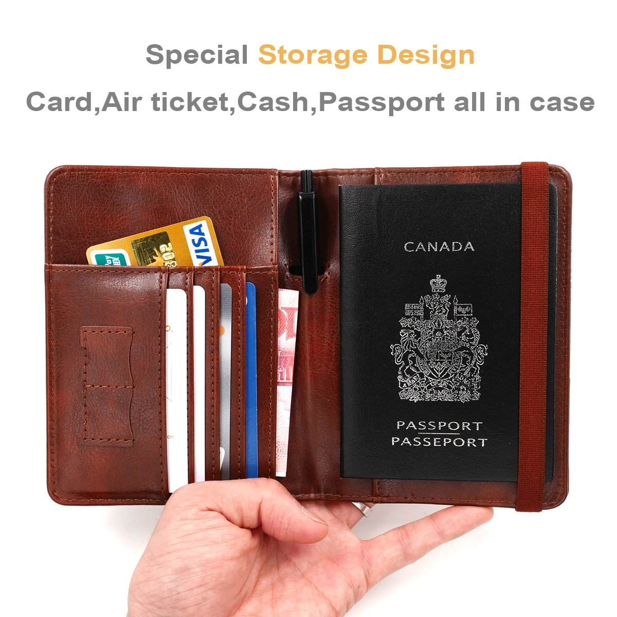 Kandouren RFID Blocking Passport Holder Cover Case,travel luggage passport wallet made with Brown Map Crazy Horse PU Leather for Men & Women by kandouren (Image #3)