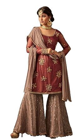 cc8476b6f6 London Collection Indian Pakistani Bollywood Designer Women Ethnic Wear  Salwar Kameez Salwar Suit (Dark Mauve
