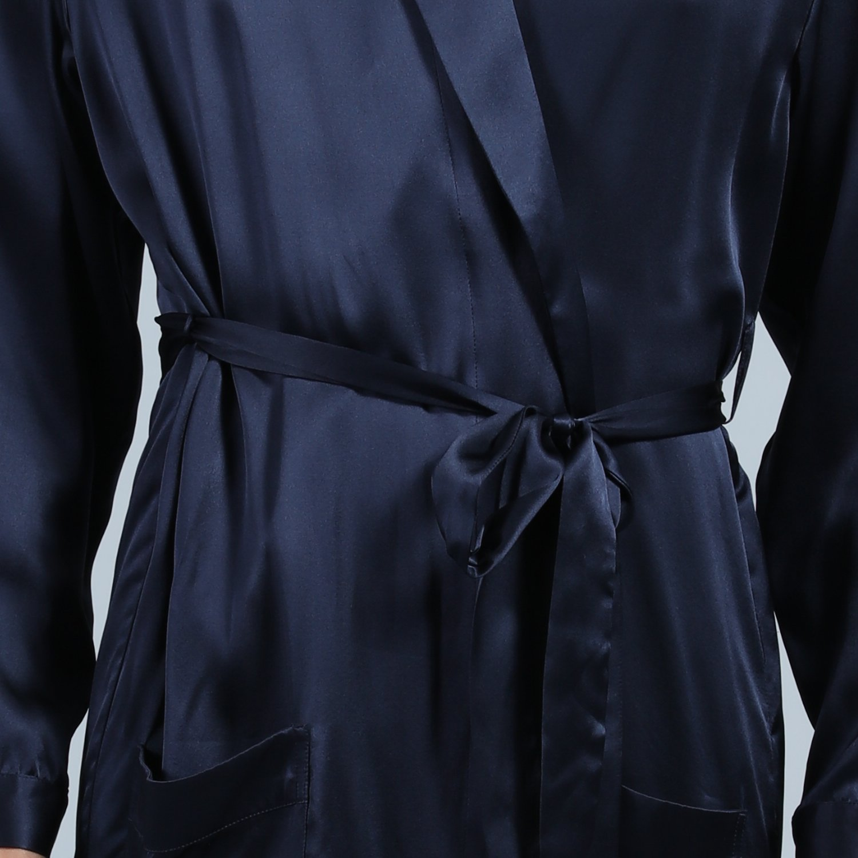 92193eabfc17bb Amazon | LULUSILK シルク バスローブ メンズ パジャマ 長袖 両側ポケット付き 高級感 部屋着 寝間着 ルームウェア 22匁 |  パジャマ・ルームウェア 通販
