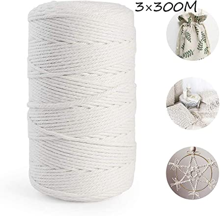 Cuerda Cordel de Algodón Hilo Macramé Natural Trenzado Algodón Beige,Cordón Hilo de Algodón DIY Planta de Colgar en la Pared Percha Hecha a Mano Craft para Decoración Interior Bohemia(3mm×200m): Amazon.es: Hogar