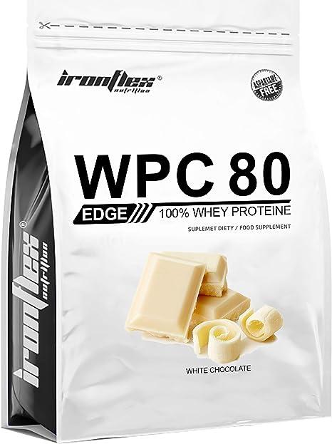 Iron Flex WPC 80 Edge - 1 paquete - Concentrado de proteína de suero - Perfil completo de aminoácidos - Suplemento de vanguardia - Cero azúcar (White ...