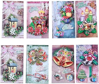 STOBOK 16 Pack - tarjetas de felicitación de Feliz Navidad, tridimensional impresión Invitaciones de Navidad Tarjetas postales Notas-8 diseños: Amazon.es: Oficina y papelería