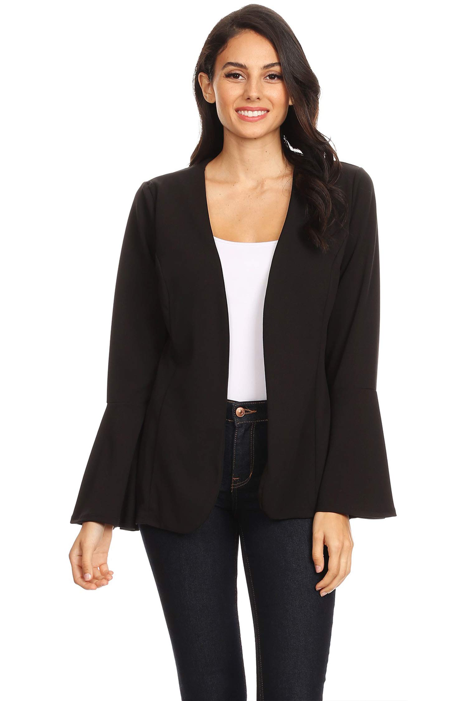 Casual Solid Loose Bell Sleeve Draped Front Blazer Cardigan/Made in USA Black 2XL