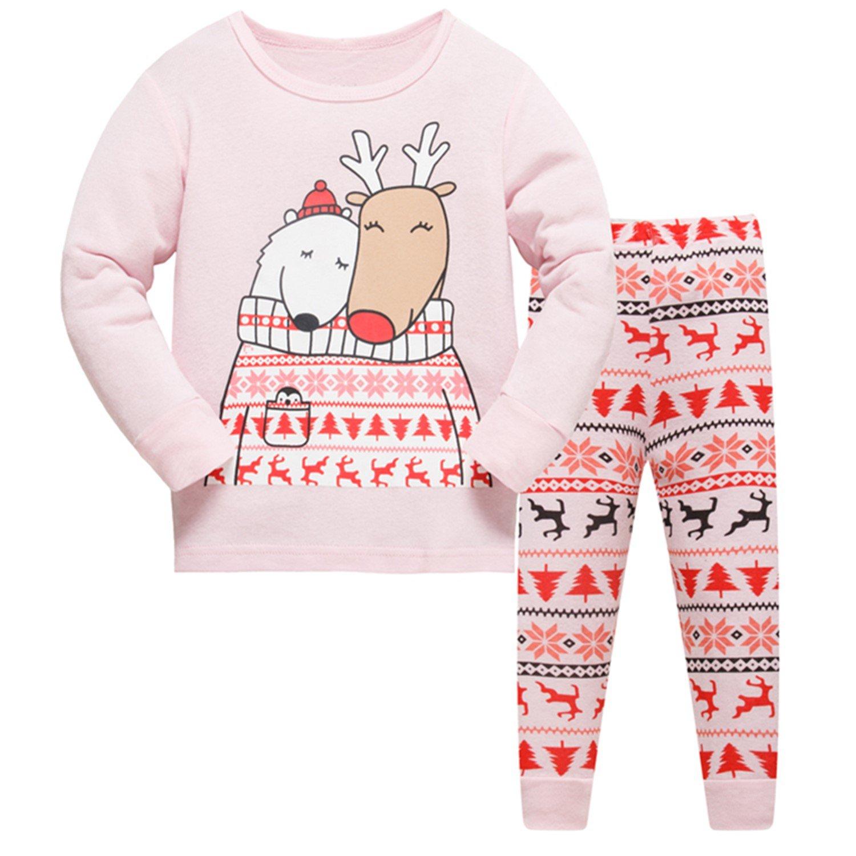 Tkiames Noël Pyjama Enfant Bébé Fille Le Renne Coton Pantalons et Haut Manches Longues Vêtements de Nuit Rose 2 3 4 5 6 7 8 ans
