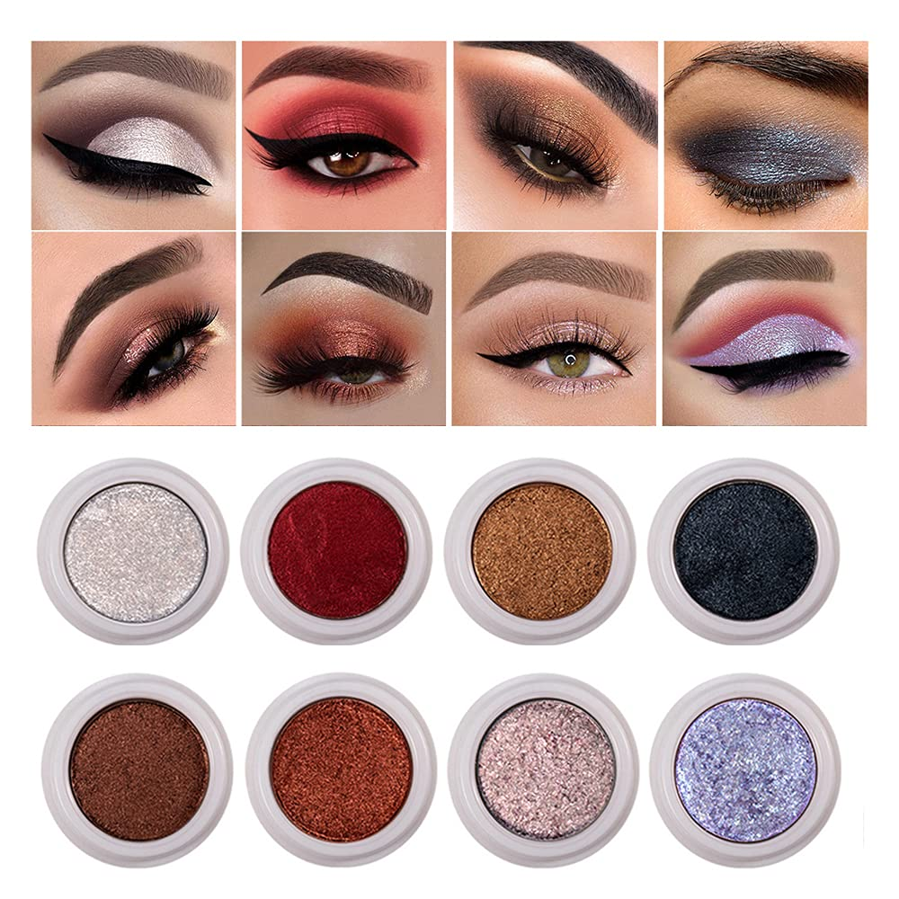 12Colors Metallic Eyeshadow Pearl Chameleon Eye Makeup Pigment Longlasting Smudge-proof (SET2)