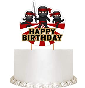 Ninja Cake Topper - Ninja Happy Birthday Party Decorations Supplies Karate Themed