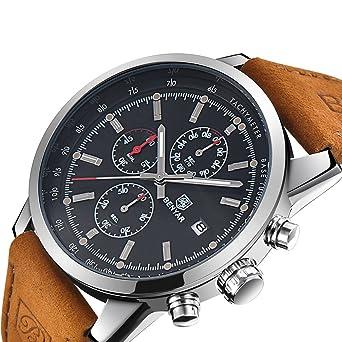 0998707a95d BENYAR Mens Watches Sport Chronograph Waterproof Watch for Men Black Luxury  Genuine Leather Quartz Watch (
